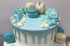 Blue Drip with Macarons