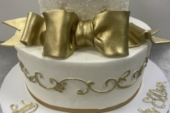 Metallic Gold Bow Tier Cake
