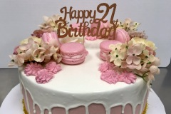 Pink White Drip 21st With Macarons Cake