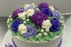 Purple Cluster Flower Cake