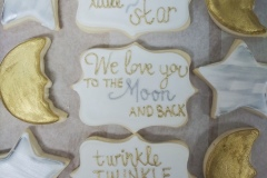 Royal Gold Stars, Moons, and Plaque Cookie