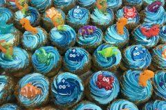 Blue with Fish Picks Cupcake