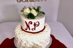 Fresh White Rose Tier Graduation Cake