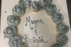 White Gold Engagement Cupcake Cake